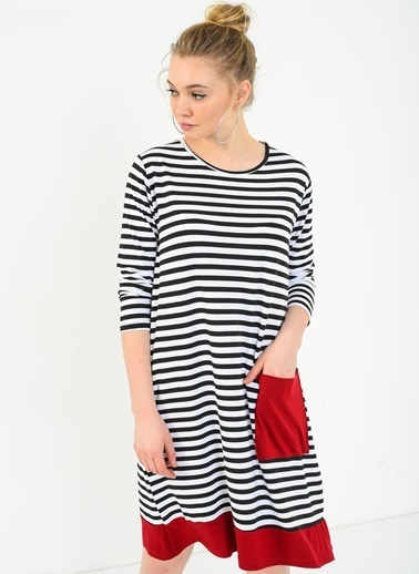Cep Detaylı Salaş Elbise-Ola